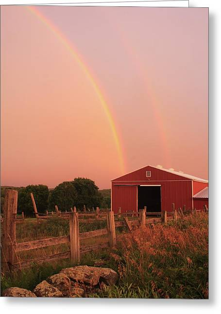 Double Rainbow Over Red Barn Greeting Card by John Burk