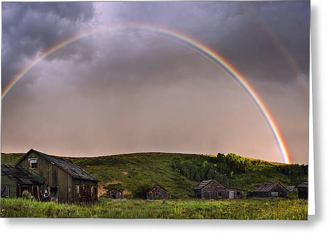 Double Rainbow Rebirth Greeting Card by Dave Dilli
