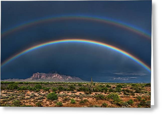 Greeting Card featuring the photograph Double Rainbow  by Saija Lehtonen