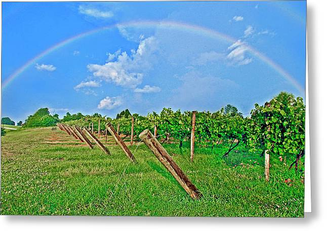Double Rainbow Vineyard, Smith Mountain Lake Greeting Card