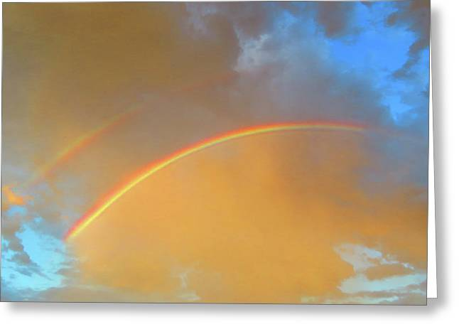 Double Rainbows In The Desert Greeting Card