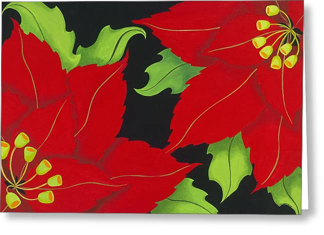Double Red Poinsettias Greeting Card by Carol Sabo