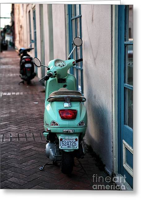 Double Scooters Greeting Card by John Rizzuto