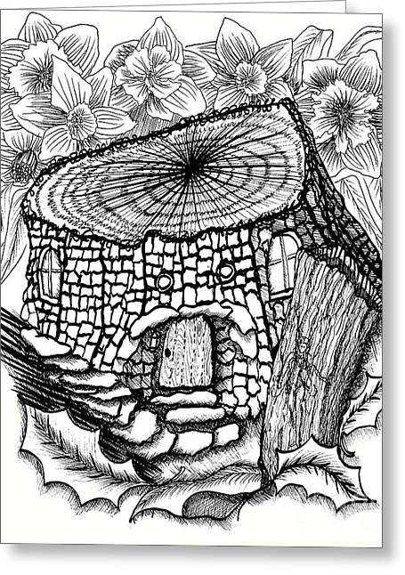 Double Stump Fairy House With Daffodils Greeting Card by Dawn Boyer