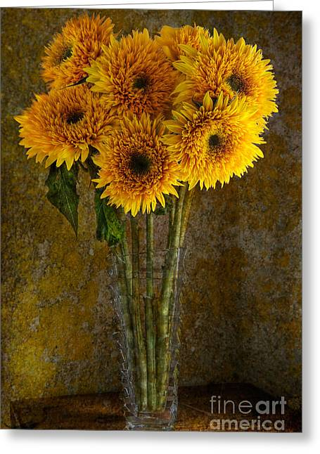Double Sunflowers In A Glass Vase Greeting Card by Ann Garrett