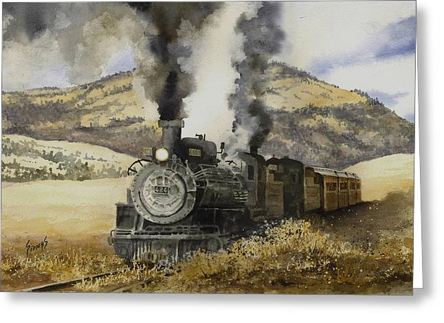 Gauge Greeting Cards - Double Teamin to Cumbres Pass Greeting Card by Sam Sidders