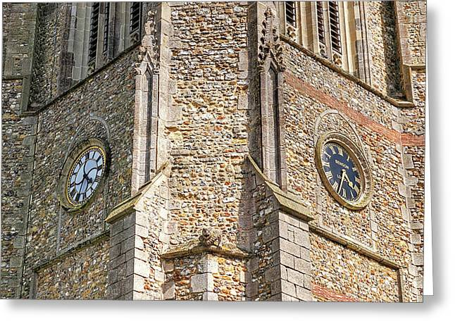 Double Time - Church Clocks Greeting Card by Gill Billington