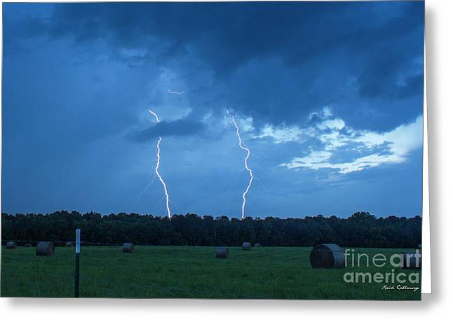 Double Trouble Dusk Thunderstorm Lightning Weather Art Greeting Card