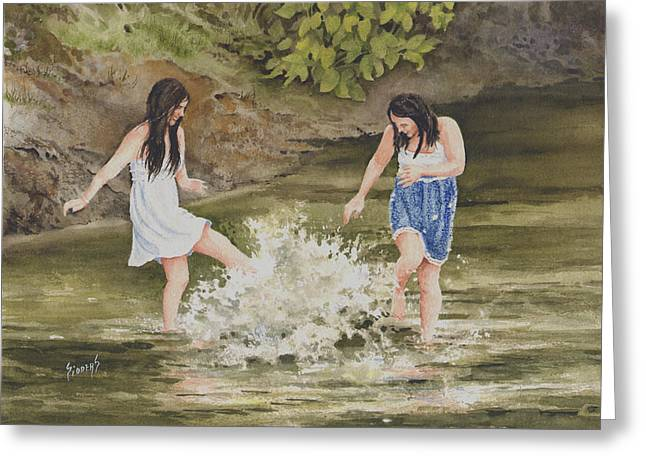 Creek Paintings Greeting Cards - Double Trouble Greeting Card by Sam Sidders