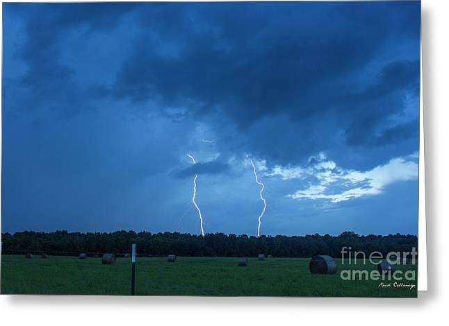 Double Trouble Too Dusk Thunderstorm Lightning Weather Art Greeting Card