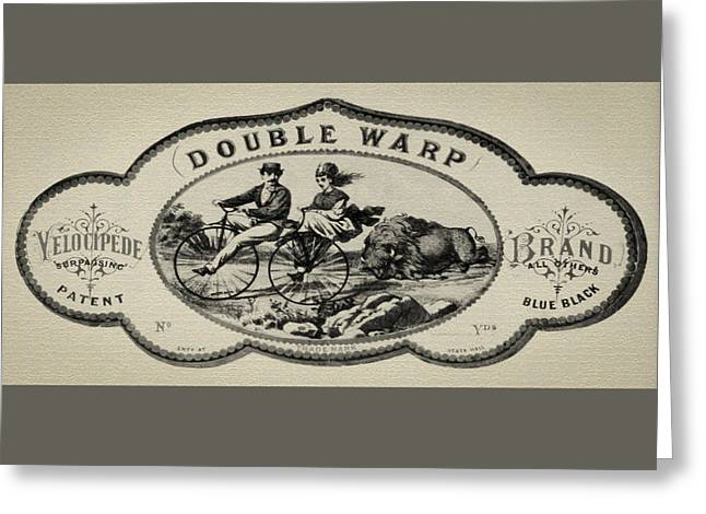 Double Warp Velocipede 1869 Bicycle Greeting Card by Bill Cannon