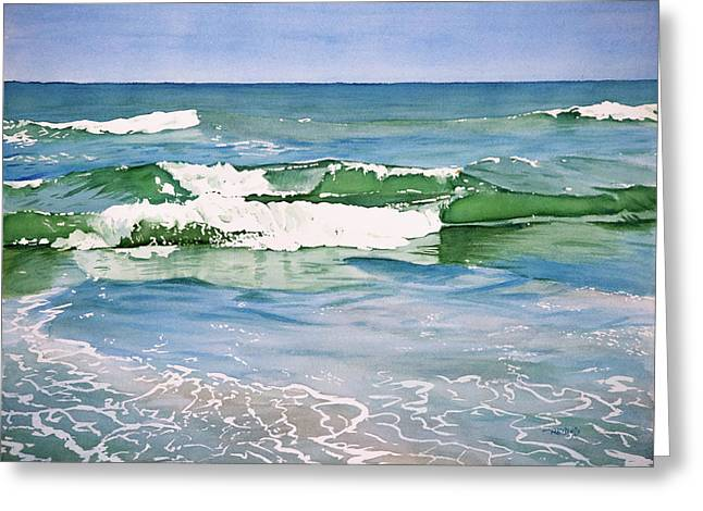 Double Wave Greeting Card by Christopher Reid