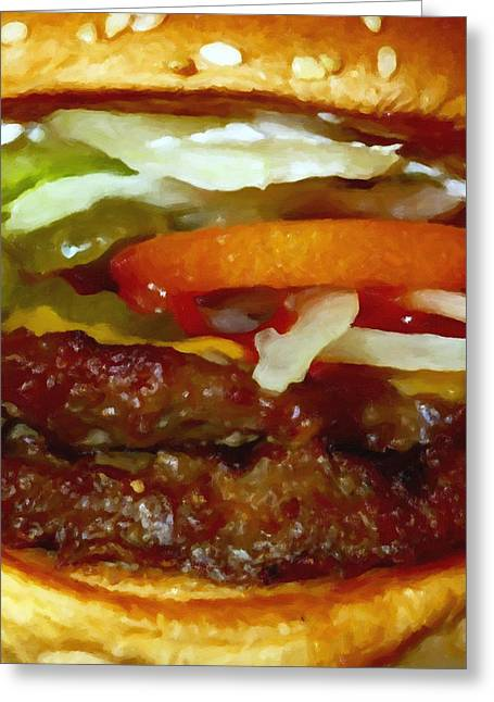 Cheeseburger Greeting Cards - Double Whopper With Cheese And The Works - Painterly Greeting Card by Wingsdomain Art and Photography
