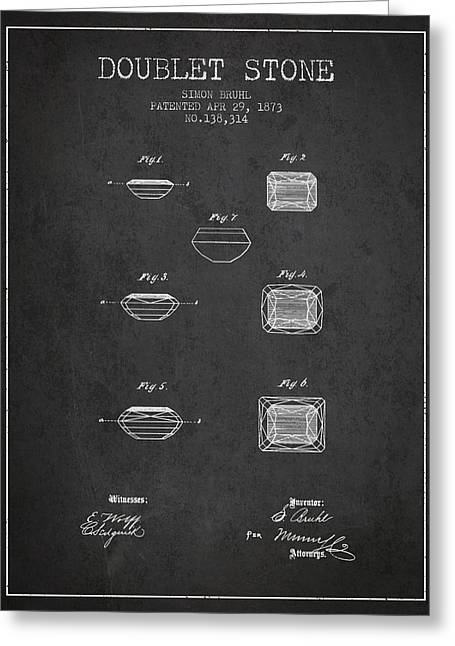 Doublet Stone Patent From 1873 - Charcoal Greeting Card by Aged Pixel