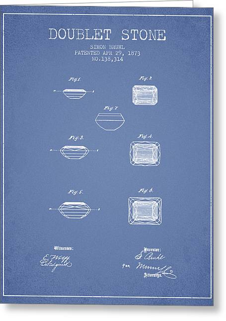 Doublet Stone Patent From 1873 - Light Blue Greeting Card by Aged Pixel