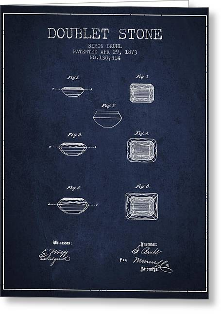 Doublet Stone Patent From 1873 - Navy Blue Greeting Card by Aged Pixel