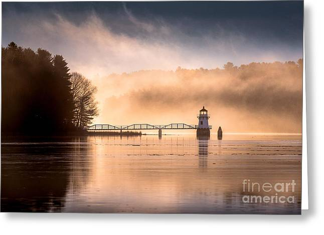 Doubling Point Lighthouse In The Mist Greeting Card