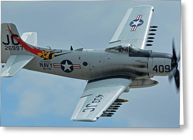 Douglas A-1d Skyraider Nx409z Chino California April 30 2016 Greeting Card by Brian Lockett