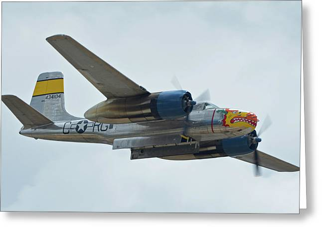 Greeting Card featuring the photograph Douglas A-26b Invader Nl99420 Silver Dragon Chino California April 30 2016 by Brian Lockett
