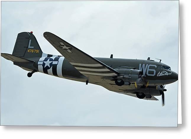 Greeting Card featuring the photograph Douglas C-47b Dakota N791hh Willa Dean Chino California April 30 2016 by Brian Lockett