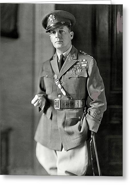 Douglas Macarthur   Harris And Ewing Glass Negative Washington D.c.1920 Color Added  2015 Greeting Card by David Lee Guss