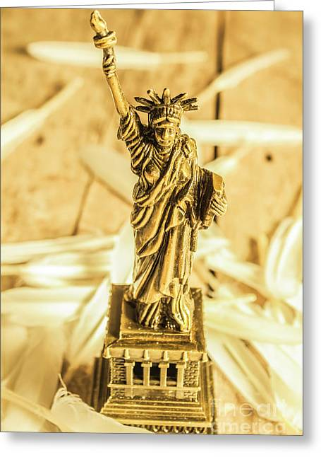 Dove Feathers And American Landmarks Greeting Card by Jorgo Photography - Wall Art Gallery