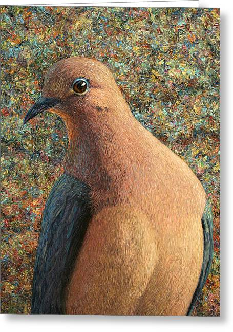 Doves Paintings Greeting Cards - Dove Greeting Card by James W Johnson