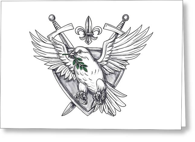 Dove Olive Leaf Sword Crest Tattoo Greeting Card by Aloysius Patrimonio
