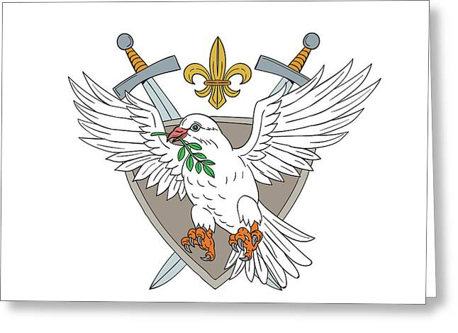 Dove Olive Leaf Sword Fleur De Lis Crest Drawing Greeting Card by Aloysius Patrimonio