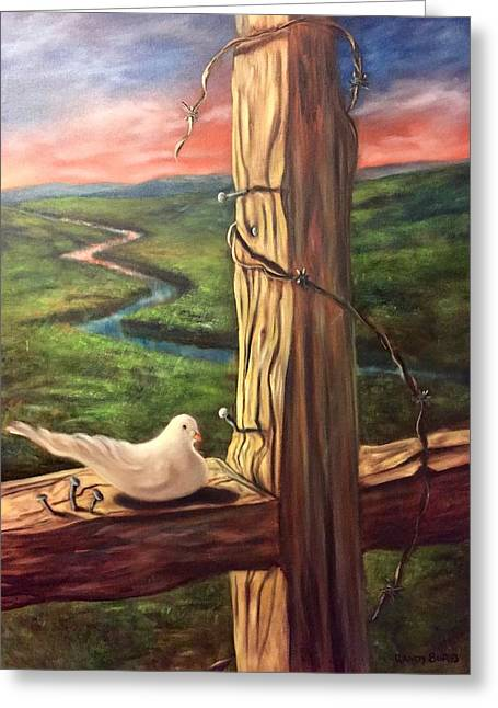 Greeting Card featuring the painting Dove On A Cross  Paloma  En Una Druz by Randol Burns