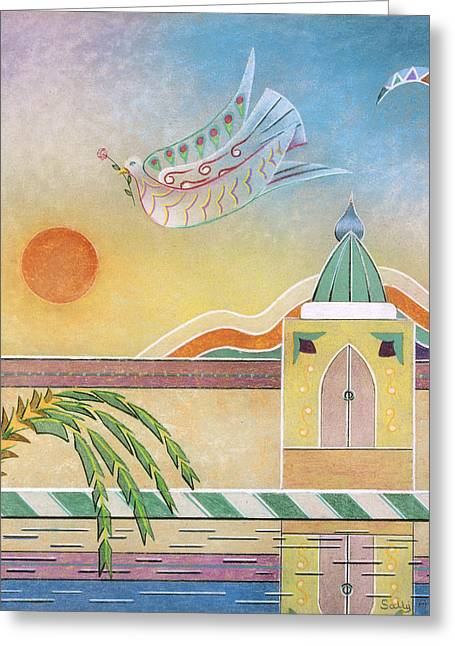 Dove Temple And Sun Greeting Card by Sally Appleby