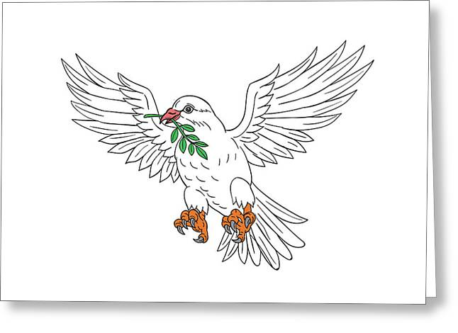 Dove With Olive Leaf Drawing Greeting Card by Aloysius Patrimonio