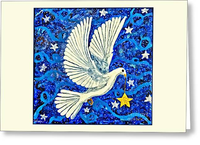 Greeting Card featuring the painting Dove With Star by Lise Winne