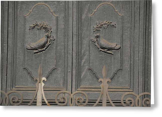 Doves On The Doorway Greeting Card by JAMART Photography
