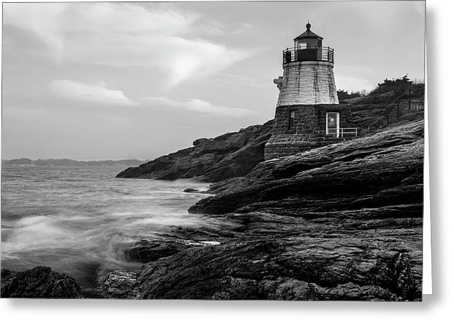 Down Below Castle Hill Light Greeting Card by Andrew Pacheco