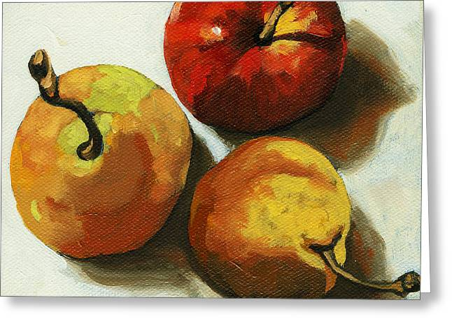 Down On Fruit - Pears And Apple Still Life Greeting Card