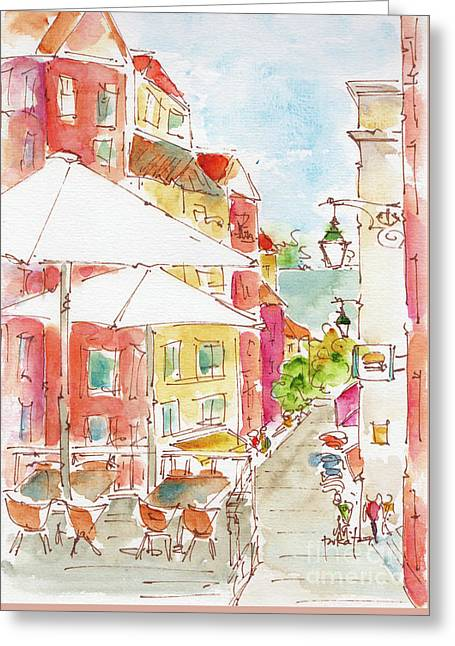 Down Rua Serpa Pinto Lisbon Greeting Card by Pat Katz