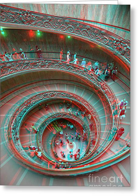 Down Stairs Anaglyph 3d Greeting Card by Stefano Senise