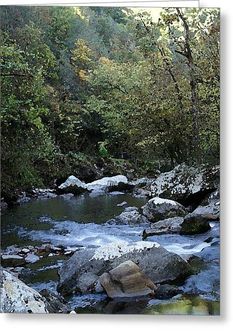 Down Stream Greeting Card by Bj Hodges