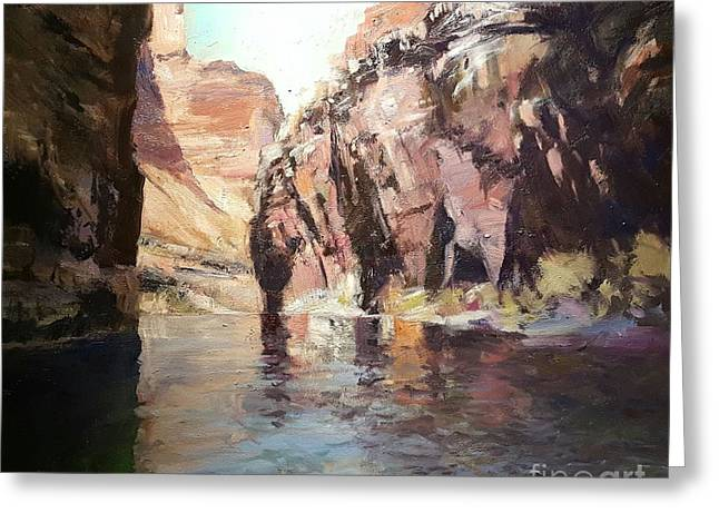 Down Stream On The Mighty Colorado River Greeting Card