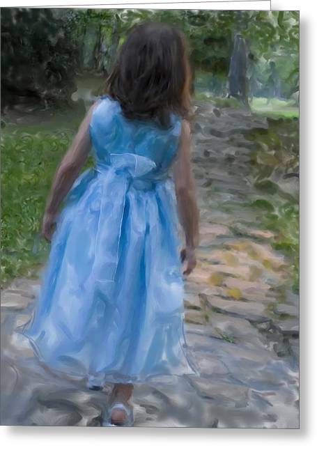 Down The Path Greeting Card by Sandy Belk