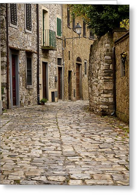 Down The Road In Montefiorella Greeting Card by Rae Tucker