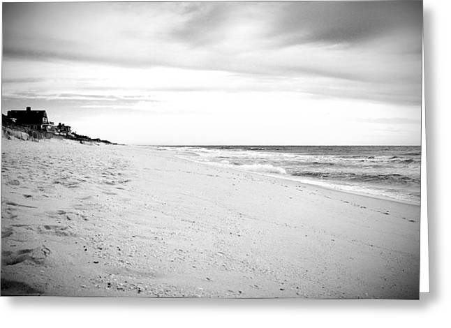 Down The Shore In Black And White - Jersey Shore Greeting Card by Angie Tirado
