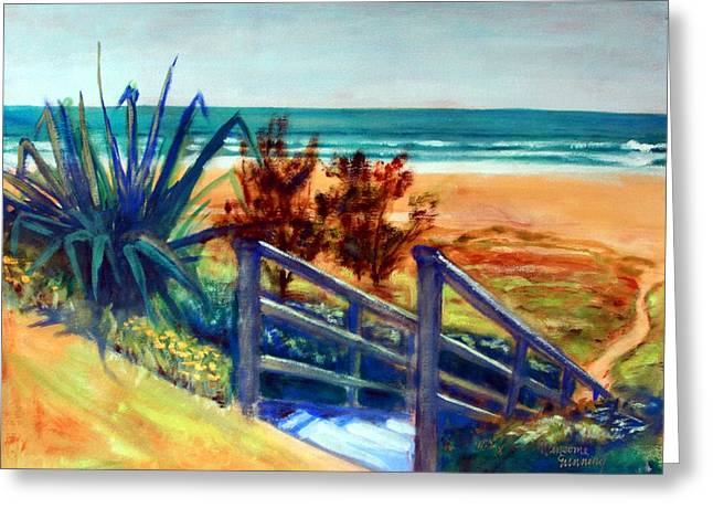 Down The Stairs To The Beach Greeting Card by Winsome Gunning