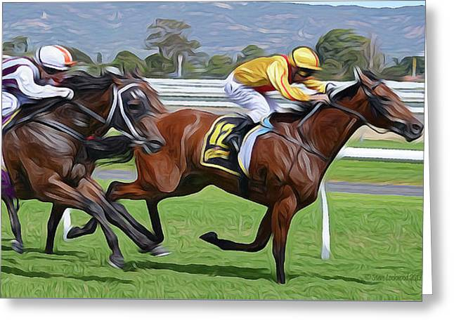 Down The Stretch Greeting Card by Steve Lockwood