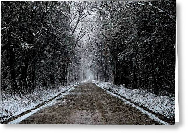 Down The Winter Road Greeting Card