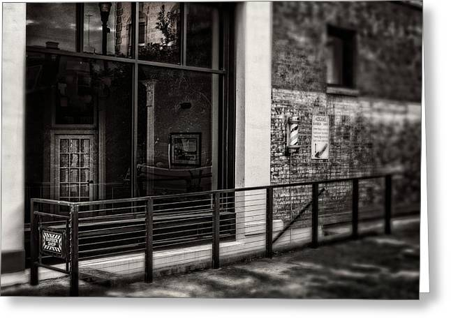Greeting Card featuring the photograph Down To The Barber Shop In Black And White by Greg Mimbs