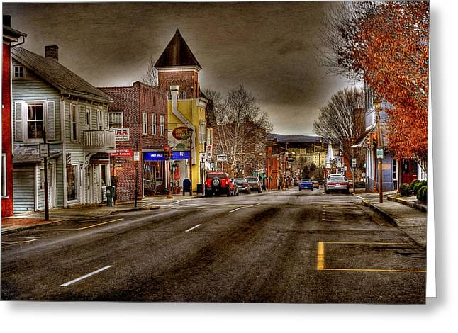Rockbridge County Greeting Cards - Down Town Lexington VA Greeting Card by Todd Hostetter