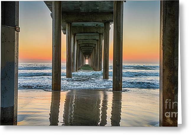 Down Under Scripp's Pier  Greeting Card