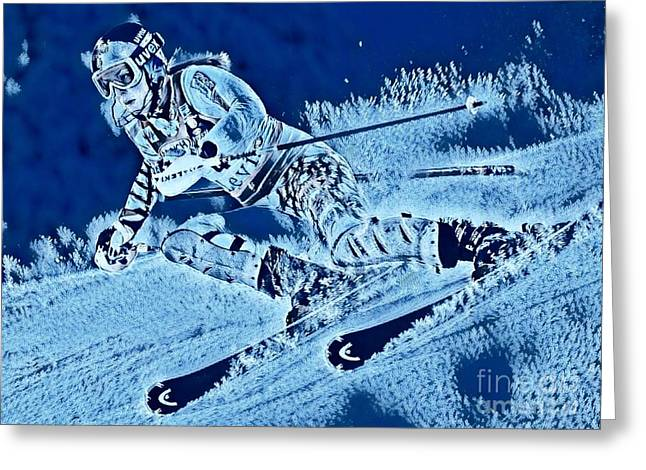 Downhill In Blue Greeting Card by Pd